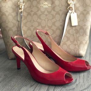Stuart Weitzmen red patent sling back kitten heels
